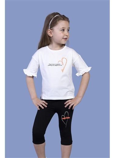Toontoy Kids Toontoy Kız Çocuk Düşük Kol Büzgü Detaylı Baskılı Taytlı Takım Ekru